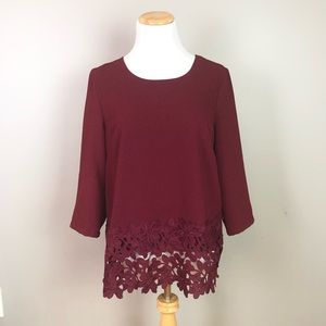 Lucy & Laurel Maroon Red Lace Shirt Size Medium